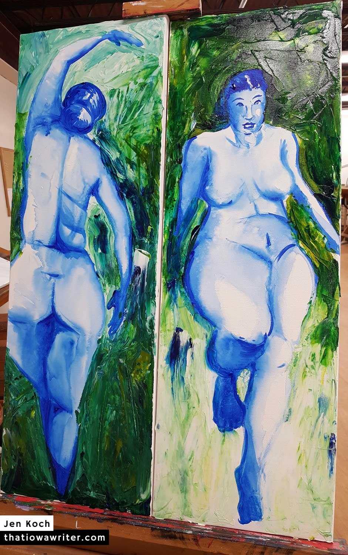 Blue Ladies, Dyptich by Jen Koch. 2018. Acrylic on canvas.